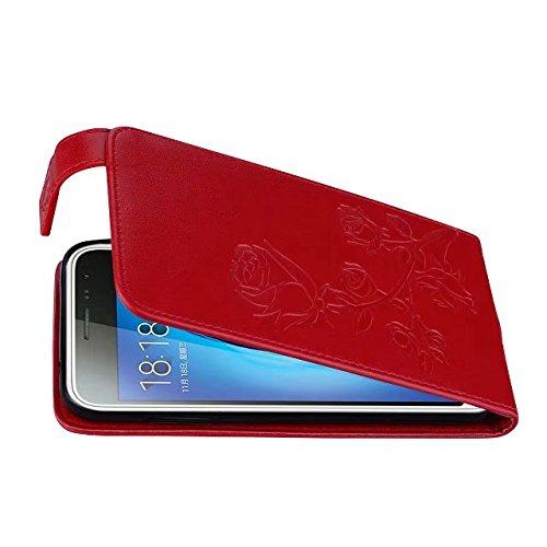 SRY Caja de cuero del tirón vertical del estampado de plores de Rose grabado con la ranura para tarjeta para Samsung Galaxy J3 / J3 2016 J310 ( Color : Gold ) Red