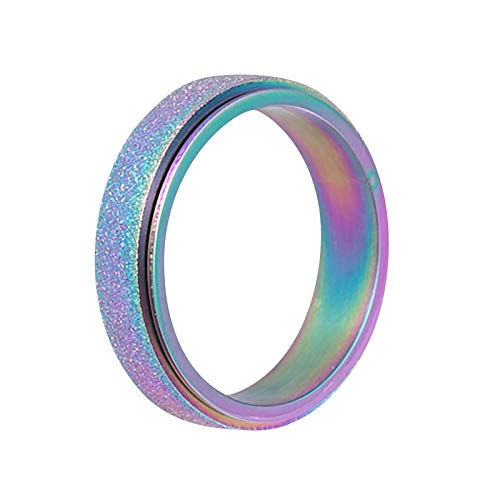TONGHANG Rings for Women Girls, Men's Fashion Stainless Steel Spinner Ring Sand Blast Spinner Band Ring Wedding Ring Jewelry Gifts for Her