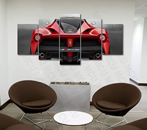 5 Piece Luxury Canvas Posters of Sports Cars Supercar Exotic Luxury Modern Wall Art Decor (5 Piece Medium, LaFerrari Rear View)