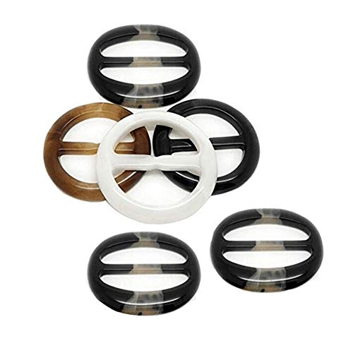 6PCS Diameter 2 Inch Resin Plastic Round Buckle Button for Waist Buckle Silk Scarves Neckerchief Clothing T-Shirt Knotting Clasp Ring for Women Lady Girls Color Random (Buckle Silk)