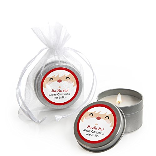 Custom Jolly Santa Claus - Personalized Candle Tin Christmas Party Favors - Set of 12 -