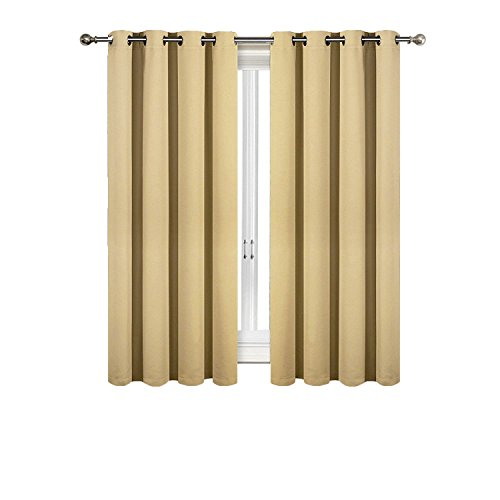 SUO AI TEXTILE – Blackout Curtains Room Darkening and Thermal Insulating Window Panels/Drapes – 2 Panels Set – 8 Grommets per Panel -(Gold, each 52 x 63 with Grommets) For Sale