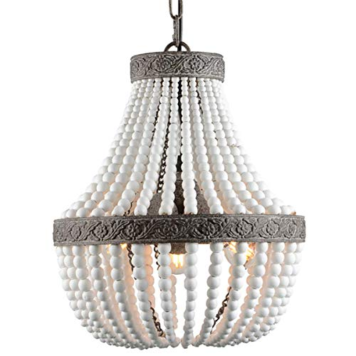 Bohemia Wood Beaded Chandelier Antique Rustic Pendant Light White Finishing for Bedroom, Kitchen Island, Gril Room 3-Light