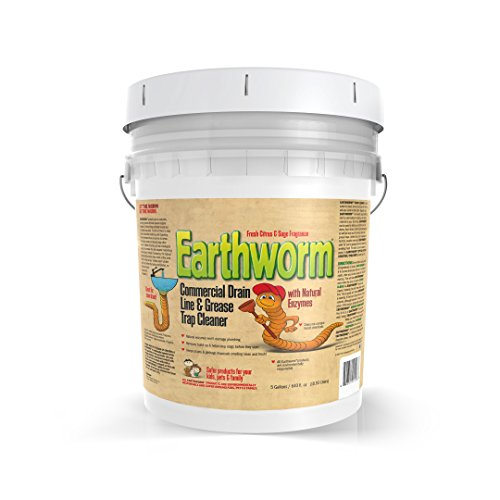 Earthworm® Commercial Drain Line and Grease Trap Cleaner - Clog Remover - Drain Opener / Deodorizer - Natural Enzymes, Environmentally Responsible - 5 Gallon Size 5-Gallons by Earthworm