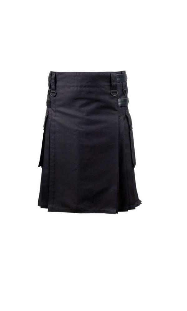 Active Men Black Deluxe Utility Modern Kilt with
