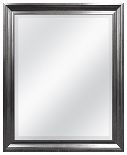 - MCS 21.5x27.5 Inch Rectangular Wall Mirror, 26x32 Inch Overall Size, Pewter (20452)