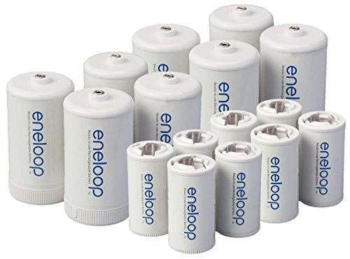 Eneloop Spacers 8 C Size Spacers & 8 D Size Spacers for Use with Ni-MH Rechargeable AA Battery Cell Pack of 16
