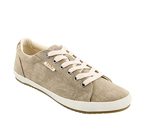 Taos Footwear Women's Star Khaki Wash Canvas Sneaker 9.5 W US