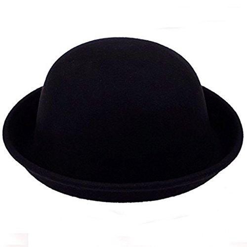 Anshinto Fashion Solid Color Women Lady Beach Wool Felt Bowler Fedora Hat Caps Hats (Black Velvet Fedora Hat)