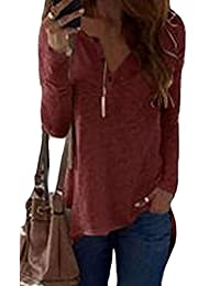 MK988 Womens Loose Fit Solid Color Henley Long Sleeve t Shirts