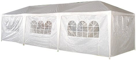 Palm Springs 10- x 30-Foot White Party Tent Gazebo Canopy with Sidewalls, Outdoor Stuffs