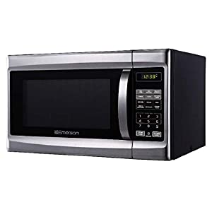 Emerson 1.3 CU. FT. 1000 Watt, Touch Control, Stainless Steel Front, Black Cabinet Microwave Oven, MW1338SB 4