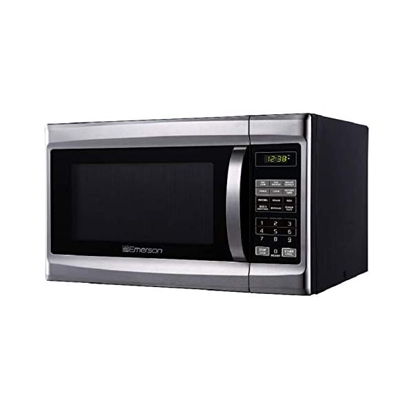 Emerson 1.3 CU. FT. 1000 Watt, Touch Control, Stainless Steel Front, Black Cabinet Microwave Oven, MW1338SB 1
