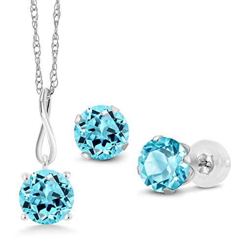 (Gem Stone King 3.00 Ct Round Swiss Blue Topaz 10K White Gold Pendant Earrings Set With Chain)