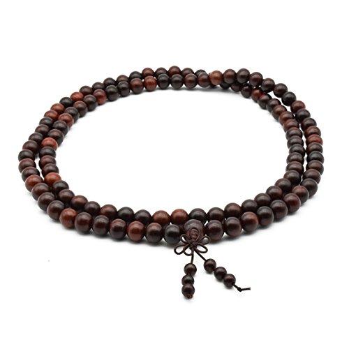 Zen Dear Unisex Natural Rosewood Prayer Beads Buddha Buddhist Prayer Meditation Mala Necklace Bracelet (10mm 108 Beads) by Zen Dear (Image #1)