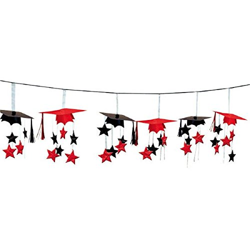Amscan School Colors Graduation Party 3-D Mortarboard and Stars Foil Garland Decoration, Apple Red and Black, Foil, 12 -