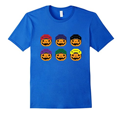 Hockey Puck Halloween Costume (Mens Halloween Hockey Pumpkins T-shirt Medium Royal Blue)
