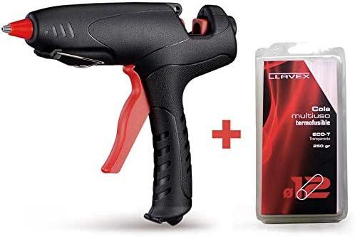 SIESA - Set pistola silicona caliente 80W Clavex PT-80 Siesa + barra de pegamento termofusible 12mm de diámetro Eco-T Clavex 250gr Siesa