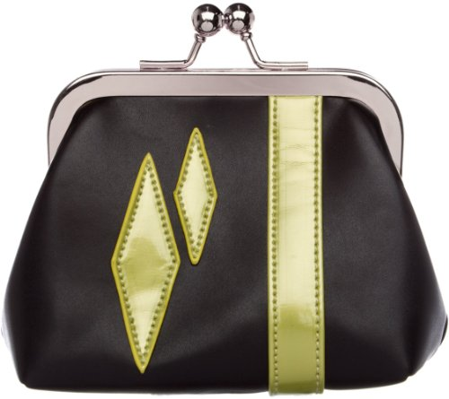 Sourpuss Dollface Bettie Green and Black Diamond Coin Purse
