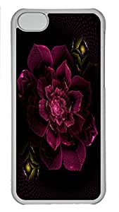 Case Cover for iPhone 5C Transparent Hard Plastic Skin Shell for iPhone 5C with Magenta Flower