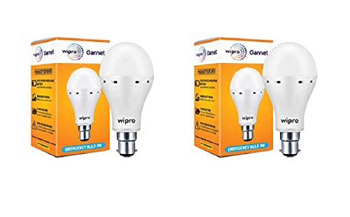 wipro Garnet 9 Watt 6500k Emergency LED Bulb (White) -Pack of 2