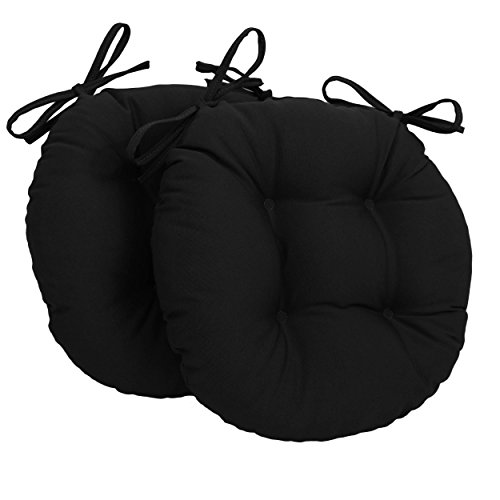 Blazing Needles Solid Twill Round Tufted Chair Cushions (Set of 2), 16
