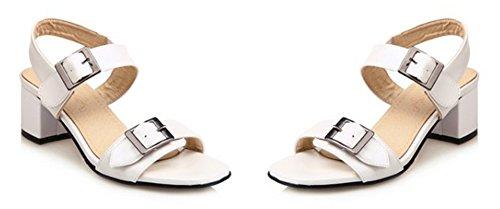 Bout Femme Ouvert Blanc Aisun Sandales Elégant Lanière Boucle xTqnFIv