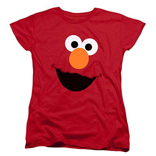 - Women's Sesame Street Elmo Face T Shirt & Exclusive Stickers (Small)
