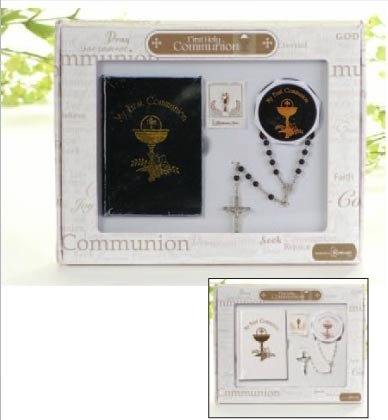 First Holy Communion Boy Missal, Rosary, Box and Lapel Pin 4 Piece Boxed Gift Set