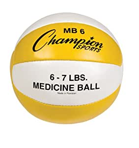 Champion Sports Leather Medicine Ball (Yellow/White, 6-7-Pound)