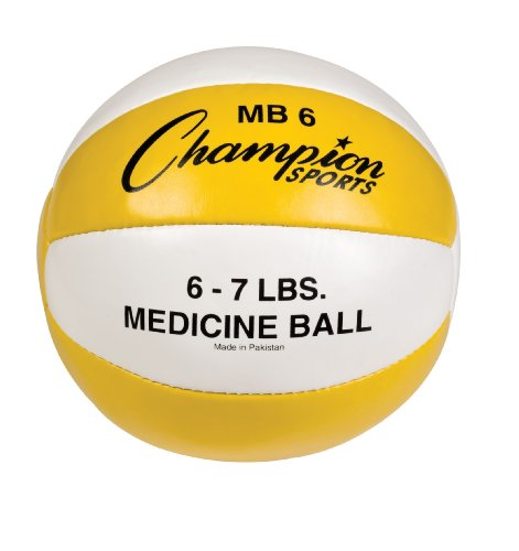 Champion Sports Leather Medicine Ball (Yellow/White, 6 - 7 Lbs)