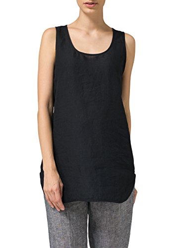 Vivid Linen Sleeveless Long Shell Tank-2X-Black