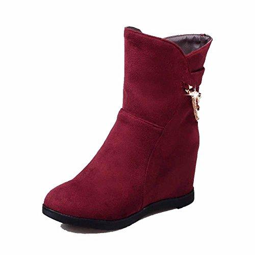 VogueZone009 Donna Tirare Tacco Alto Pelle Di Mucca Chiodato Bassa Altezza Stivali con Catene, Rosso, 34