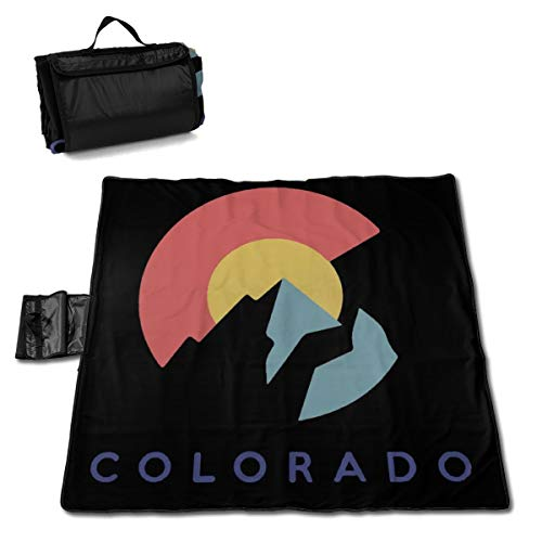 Socira Colorado Flag with Moutain Large Picnic Blanket Water Resistant Beach Blanket Machine Washable Outdoor Blanket Folds Into A Tote Bag ()