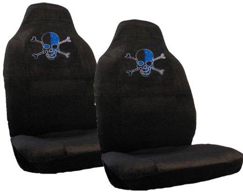 Blue Skull w/ Crossbones Gem Crystals Studded Rhinestone Car Truck SUV Bucket Seat Covers - Pair