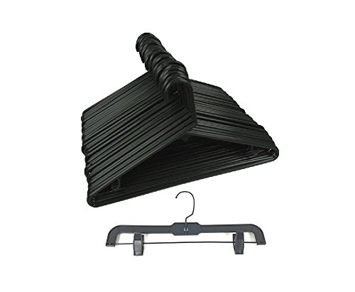 set of 40 Plastic Tubular Cloth Hanger and Pant Hanger Black by THE UM24