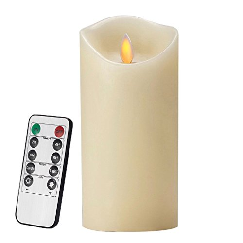 Candle Battery operated Flickering Candle Dancing LED Candle Real Wax Candle Motion Candle with Timer [Classic Pillar Candle, Ivory Color] - 3.5