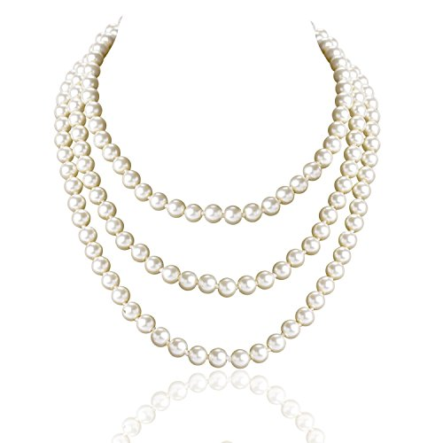 "Tagoo Simulated Pearl Chunky Collar Necklace 17.5"" 18"" 55"" Single Double Triple Multi Strands for Womens&Girls (55"" Long Single Strand 8mm Pearl)"