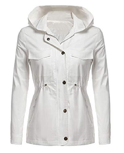 Mogogo Womens Fall Winter Rain Jacket Cotton Hoodie Windproof Anorak White