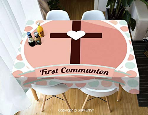 - Vinyl tablecloth First Communion Design Heart Shape Pattern Dotted Background Ornamental Illustration (60 X 84 inch) Great for Buffet Table, Parties, Holiday Dinner, Wedding & More.Desktop decoration