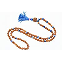 Necklace Meditation Rudraksha Lapis Lazuli Mala Yoga Energy Beads- Inner Truth and Deep Peace