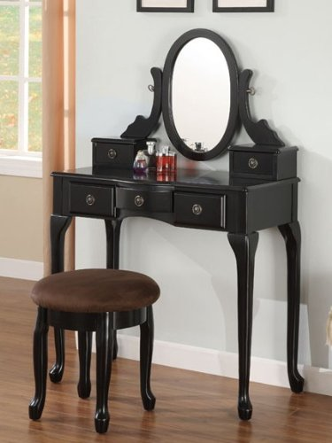 2pc Vanity Set with Stool in Black - Storage Bench Queen Anne Style