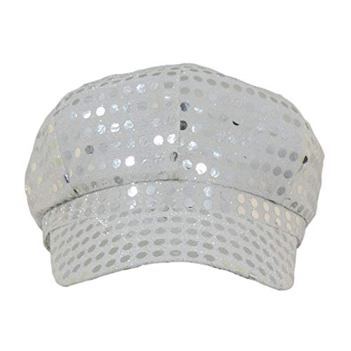 Windy City Novelties Ladies Or Silver Disco Paperboy Sequin Newsboy Hat