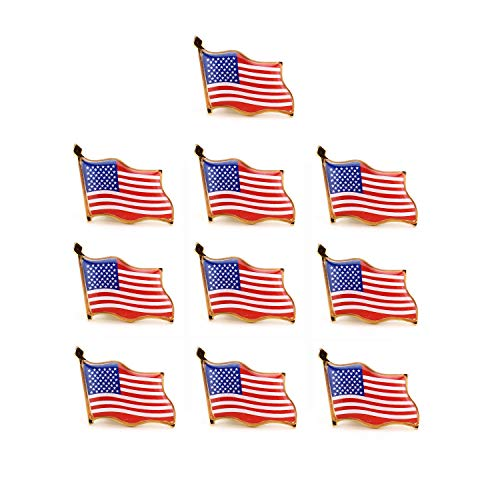 (Pack of 10, American Flag Pin, United States Waving American Flag Stars and Stripes Lapel Pin by Crystal Lemon)