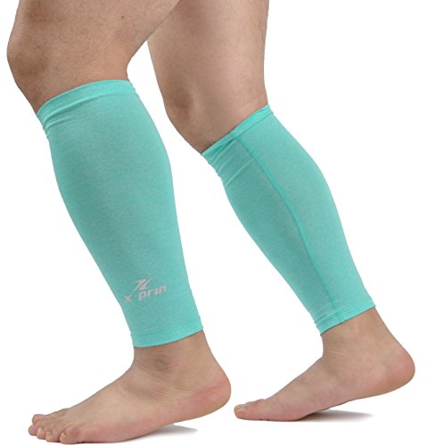 (X-PRIN Xprin Calf Compression Sleeve Sports Unisex Leg Ankle Sun Protection One Pair (Melange Mint, Large) )