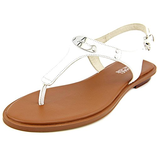 Michael Michael Kors Women's MK Plate Thong Optic White 7 M (Michael Kors White Sandals)