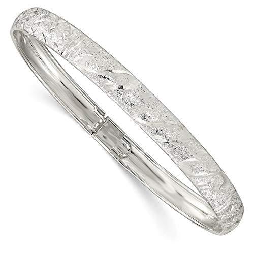 (925 Sterling Silver Polished & Textured Laser-Etched 6.5mm Hinged Bangle Bracelet 7.25