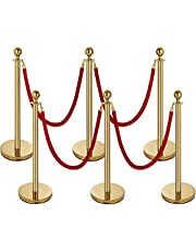 Mophorn Stanchion Queue Post, Stanchion Queue Post Black Retractable Belt, Stanchion Posts Queue Pole for Crowd Control Barriers Both Indoor Outdoor Use (6 Pcs Gold Stainless Steel 4 Red Ropes)