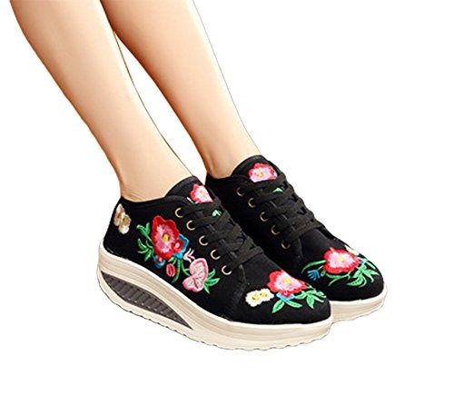 AvaCostume Womens Embroidery Lace Up Platform Casual Sneaker Shoes, Black 38