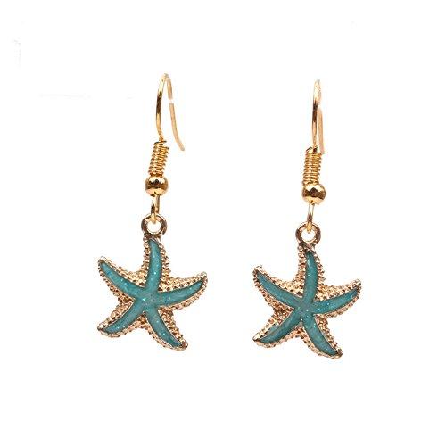 palettei CHOA Starfish Earrings - Simple Colorful Enamel Starfish Shinny Rhinestone Clip Earrings (Green Enamel Clip)